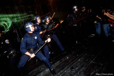 Police defend the federal building during a small riot at Gulf War protest.
