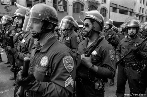Police at Gulf War protest.