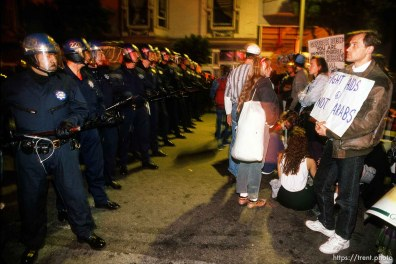 Police and protesters stand-off on Haight Street at Gulf War protest.