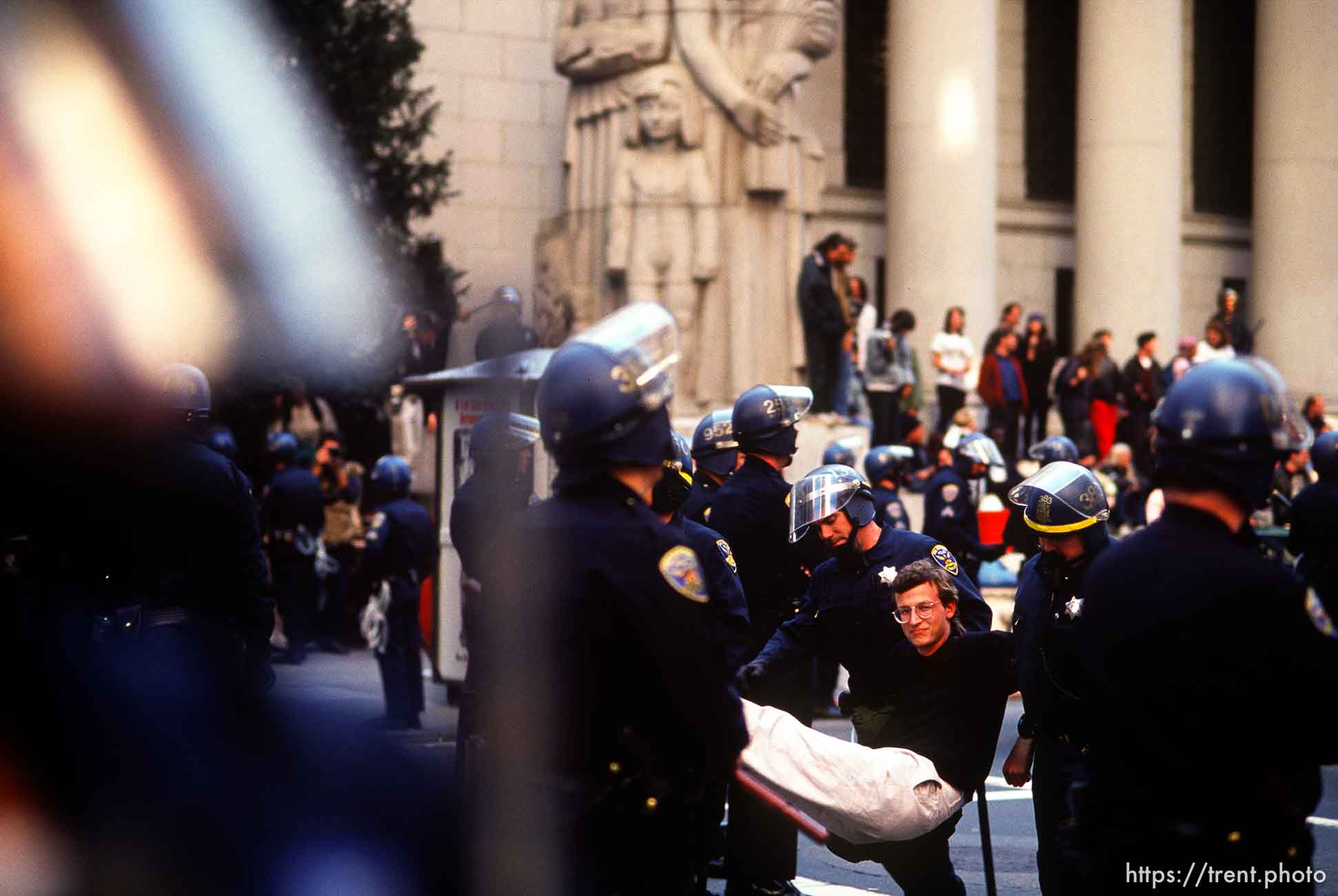 Protesters shut down the Pacific Stock Exchange during an anti-war Gulf War protest.