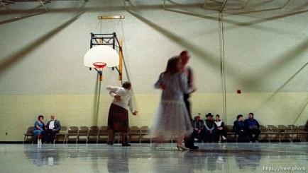 Dance in LDS cultural hall at Utah Centennial Celebration