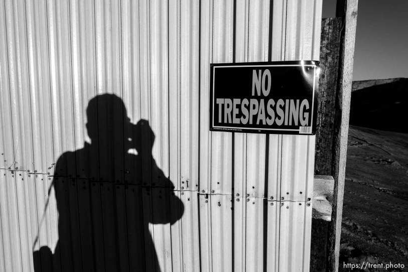 Trent Nelson | The Salt Lake Tribune trent shadow and wall around apparent new FLDS storehouse, Hildale, Wednesday January 14, 2015.