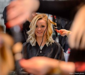 LaDonna Young, who left the polygamous the Kingston Group (also known as the Davis County Cooperative Society and the Latter Day Church of Christ) at the end of 2016, has her hair cut and styled by Amanda Moncur at Kelly Cardenas Salon in South Jordan, Tuesday January 9, 2018. The salon tries to help people leaving polygamous sects by offering them haircuts. For some, it's the first time they've been free to express themselves with a haircut.