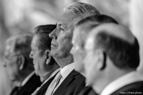 (Trent Nelson | The Salt Lake Tribune) Dieter F. Uchtdorf sits with other members of the Quorum of the Twelve Apostles at a news conference in the lobby of the Church Office Building in Salt Lake City, Tuesday January 16, 2018. Russell M. Nelson was named the 17th president of the nearly 16 million-member Church of Jesus Christ of Latter-day Saints.