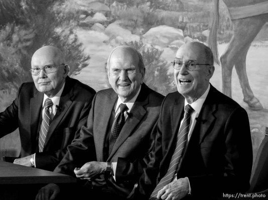 (Trent Nelson   The Salt Lake Tribune) Dallin H. Oaks, Russell M. Nelson, and Henry B. Eyring at a news conference in the lobby of the Church Office Building in Salt Lake City, Tuesday January 16, 2018. Nelson was named the 17th president of the nearly 16 million-member Church of Jesus Christ of Latter-day Saints. Oaks was named First Counselor in the First Presidency and Eyring Second Counselor in the First Presidency.