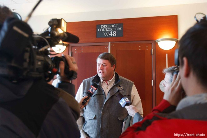 Trent Nelson | The Salt Lake Tribune Willie Jessop after a court hearing concerning Utah's management of the United Effort Plan Friday, February 15, 2013 in Salt Lake City. At rear left is attorney Mark Callister.