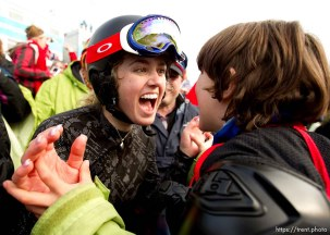 Faye Gulini shares a post-race yell with her nephew, Patrick Gulini. Ladies' Snowboard Cross, at the XXI Olympic Winter Games in Vancouver, Tuesday, February 16, 2010.