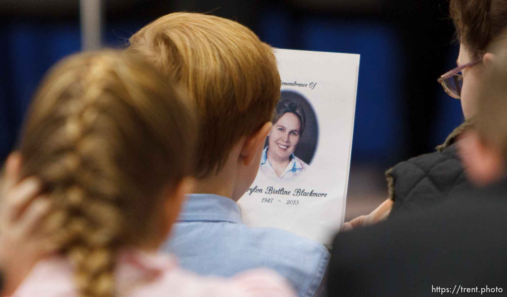 Trent Nelson | The Salt Lake Tribune Funeral program for Carolyn Bistline Blackmore, during a church service of ex-FLDS members Sunday, February 17, 2013 in Hildale.