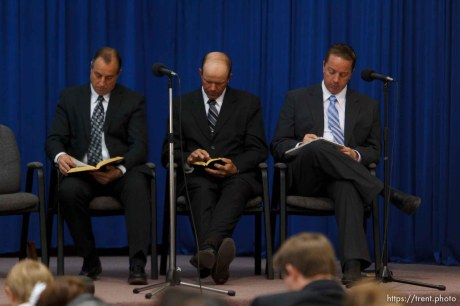 Trent Nelson   The Salt Lake Tribune Dan Timpson, Royce Jessop and Sam Allred flip through their scriptures during a church service of ex-FLDS members Sunday, February 17, 2013 in Hildale.