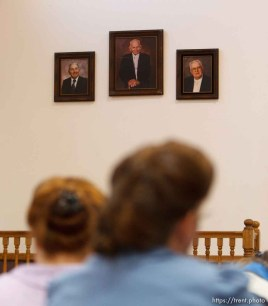 Trent Nelson   The Salt Lake Tribune Portraits of former church leaders Parley Harker, Leroy Johnson and Fred Jessop hang on the wall at a church service of ex-FLDS members Sunday, February 17, 2013 in Hildale.