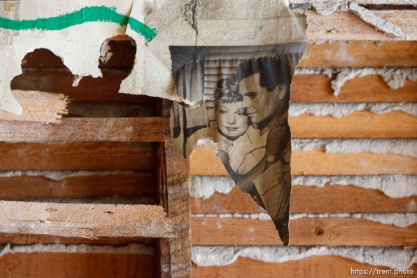 lucille ball, ricky ricardo on damaged wall. work to restore downtown Salt Lake City's historic Stratford Building, which was damaged in a summer fire in 2005.; 2.09.2006