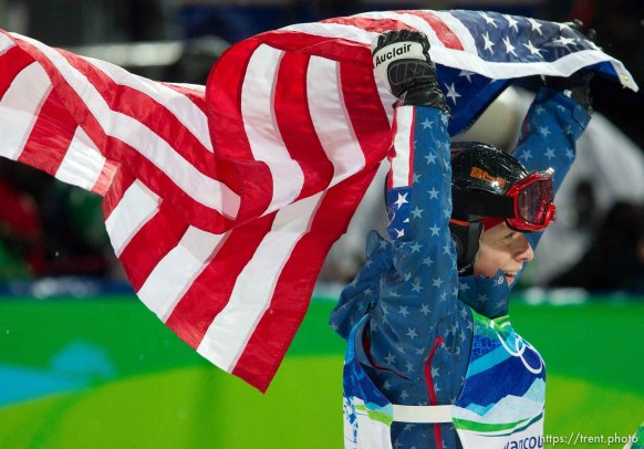 Trent Nelson   The Salt Lake Tribune Hannah Kearney, USA, waves an American flag celebrating her gold medal win, Ladies' Moguls at the XXI Olympic Winter Games in Vancouver, Saturday, February 13, 2010.