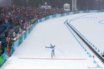 Trent Nelson | The Salt Lake Tribune Men's 10 km Sprint, Biathlon, at the XXI Olympic Winter Games in Whistler, Sunday, February 14, 2010. Croatia's Jakov Fak, bronze medalist, crossing the finish line