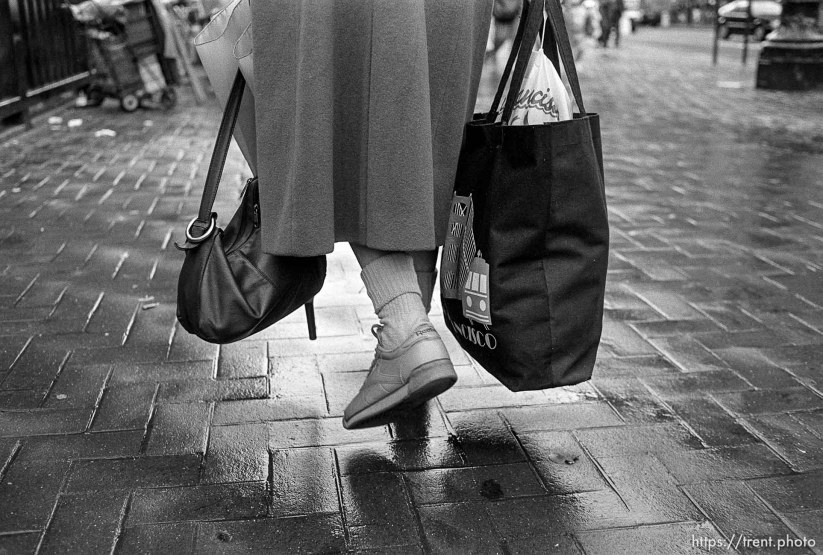 Woman's feet and bags