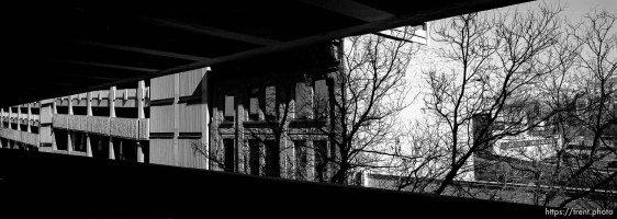 View of buildings and trees from parking garage.