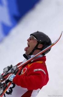 Joe Pack, silver medalist. Men's Aerials Final, Tuesday at Deer Valley, 2002 Olympic Winter Games. ; 02.19.2002, 1:14:30 PM