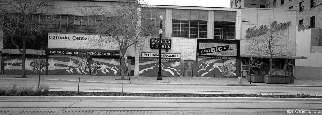 Closed shops along Main Street.