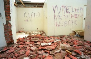 Home of a man who allegedly raped a 5-year-old girl after a mob destroyed it.