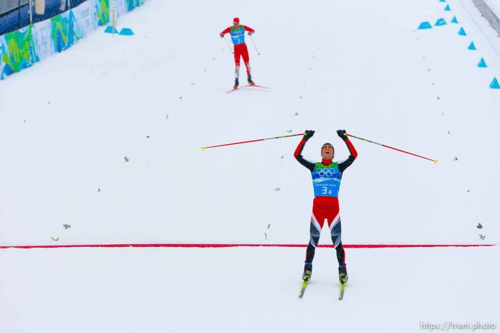 Team 4x5km Nordic Combined on the cross country track at the Whistler Olympic Park, XXI Olympic Winter Games in Whistler, Tuesday, February 23, 2010. austria's Mario Kreiner (front) and USA's bill demong approach the finish line. Austria gold medal, USA silver