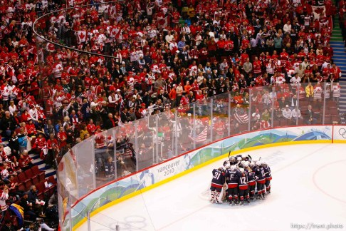 Trent Nelson   The Salt Lake Tribune Team USA huddles before a Canadian crowd prior to the game. USA vs. Canada, gold medal game, women's Ice Hockey at the Canada Hockey Place, Vancouver, XXI Olympic Winter Games, Thursday, February 25, 2010.