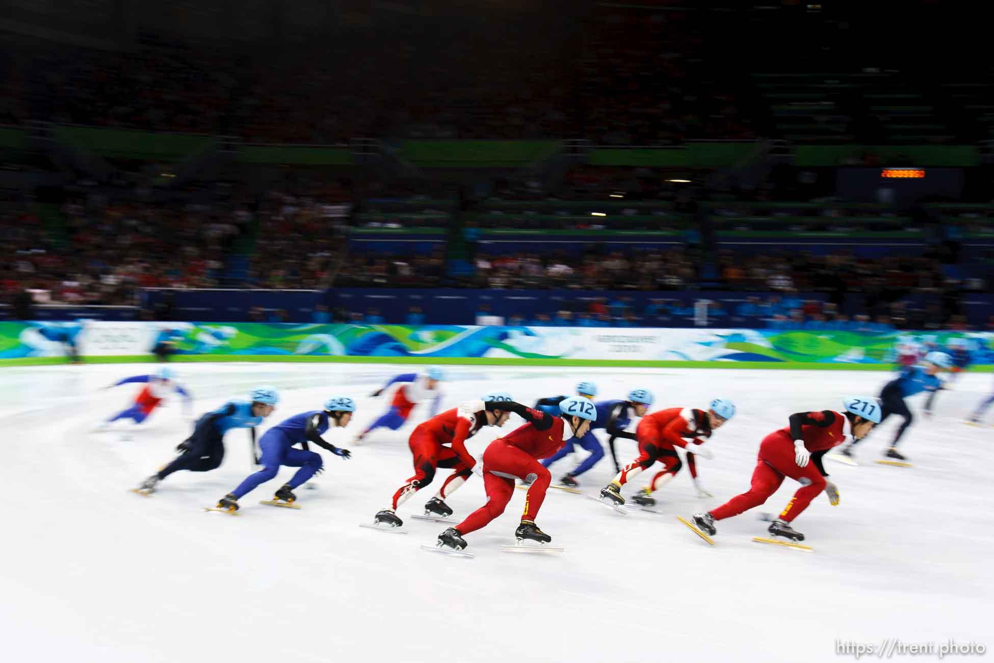 Trent Nelson | The Salt Lake Tribune Men's 5000m relay final, Short Track Speed Skating at the Pacific Coliseum Vancouver, XXI Olympic Winter Games, Friday, February 26, 2010. Canda gold (Charles Hamelin 205, Francois Hamelin 206, Olivier Jean 207, Francois-Louis Tremblay 208), Korea silver (Kwak Yoon-Gy 241, Lee Ho-Suk 242, Lee Jung-Su 243, Sung Si-Bak 244), USA bronze (J.R. Celski 252, Travis Jayner 254, Jordan Malone 255, Apolo Anton Ohno 256).