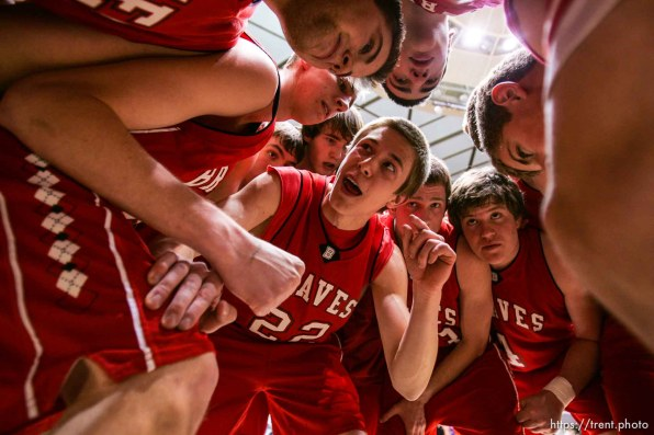 Bountiful's Brett Markowski leads the pre-game huddle. Ogden - Bountiful vs. Timpview High School boys basketball, 4A State Basketball Championships at the Dee Events Center Wednesday.