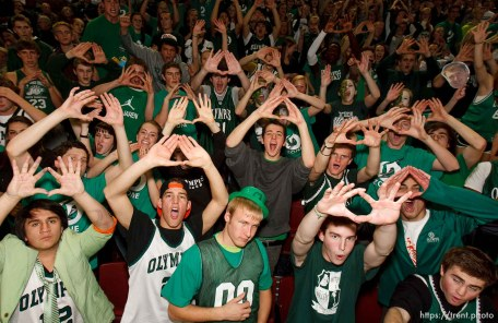 Olympus fans. East vs. Olympus, 4A High School Basketball Championships Wednesday, February 29, 2012 at the Maverik Center in West Valley City, Utah.