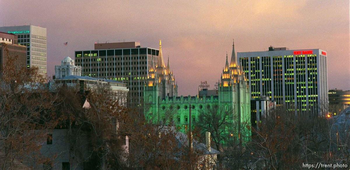 Salt Lake City skyline with LDS temple.