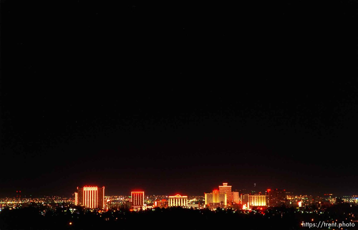 Reno city skyline at night.