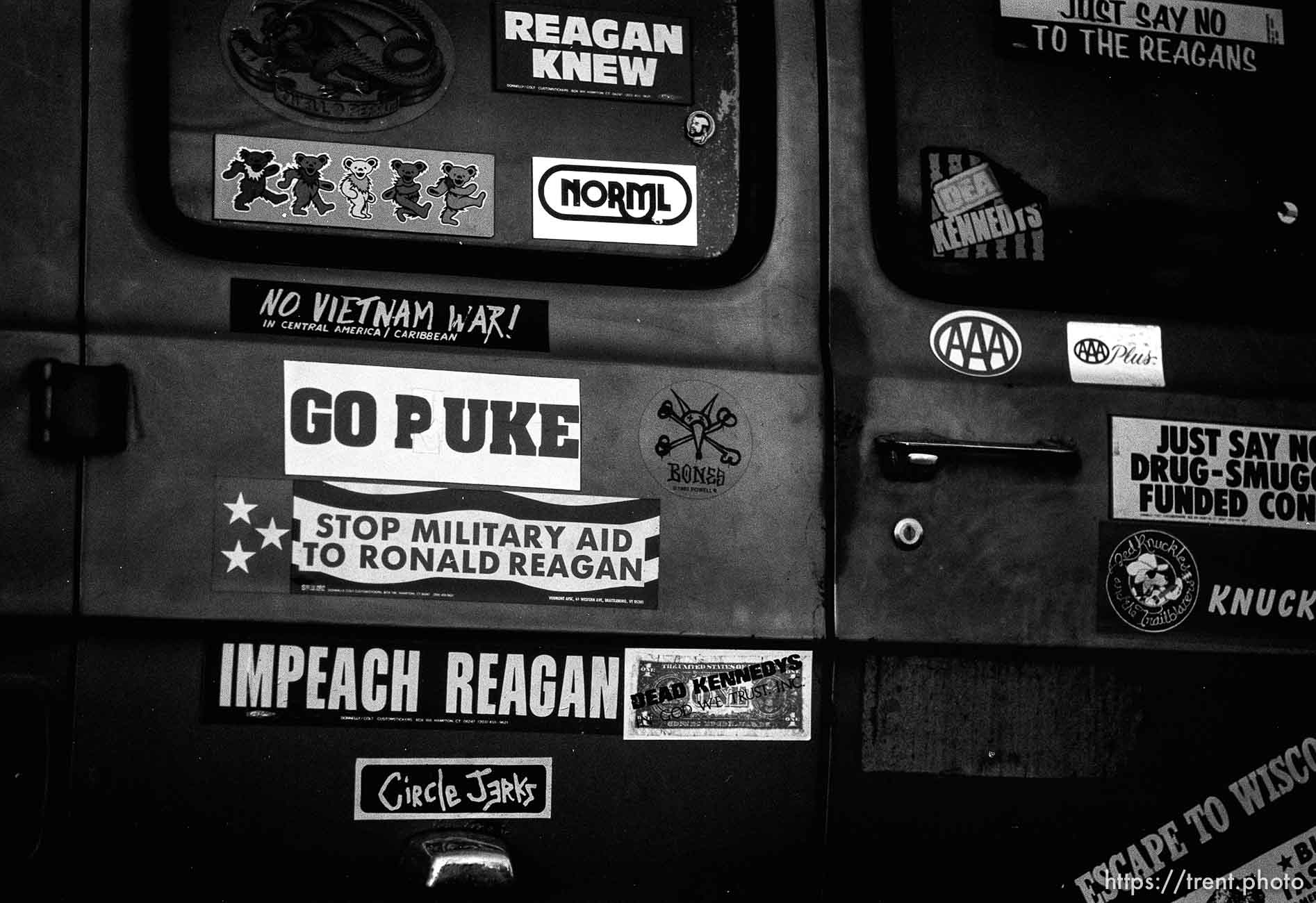 Stickers on the back of a van, february 1988.