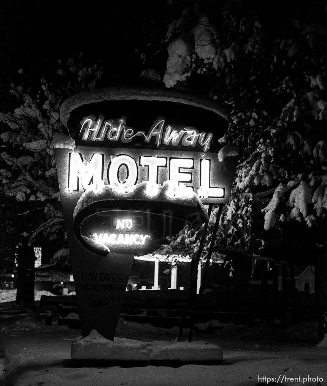 The neon sign in front of the Hideaway Motel.