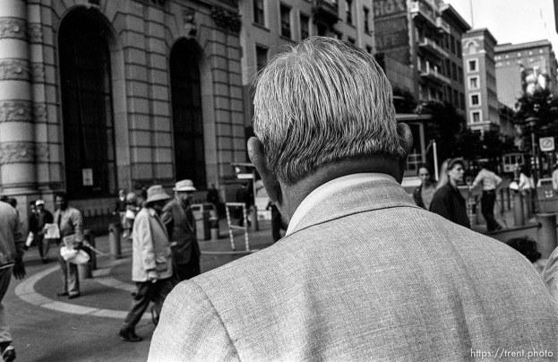 Man's head. Leica hip shots on the street.