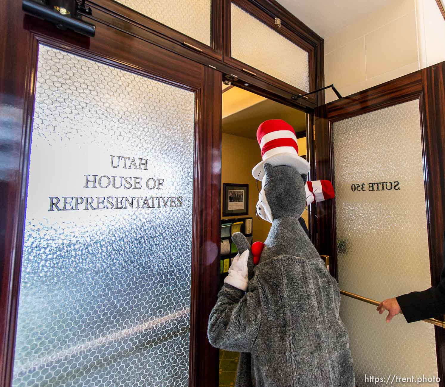 Trent Nelson | The Salt Lake Tribune The Cat in the Hat visited legislators at State Capitol Building in Salt Lake City, Friday, February 28, 2014.