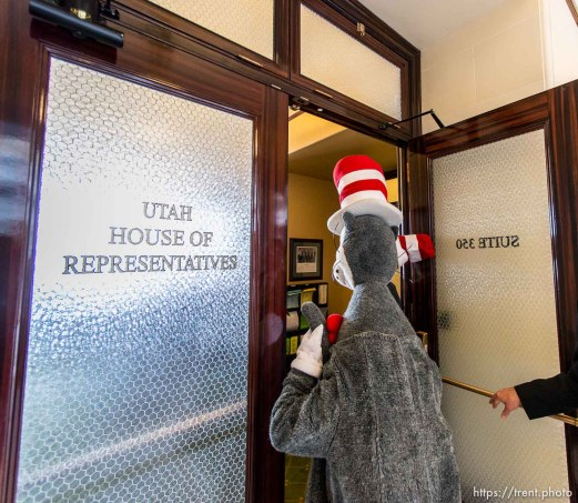 Trent Nelson | The Salt Lake Tribune The Cat in the Hat visited legislators at State Capitol Building in Salt Lake City, Friday, February 28, 2014.