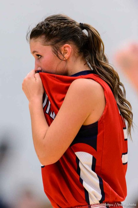 Trent Nelson | The Salt Lake Tribune Springville's Olivia Park (3) reacts to the loss as Sky View faces Springville in the 4A state high school girls basketball tournament at Salt Lake Community College in Taylorsville, Tuesday February 17, 2015. Mountain View wins 54-49.