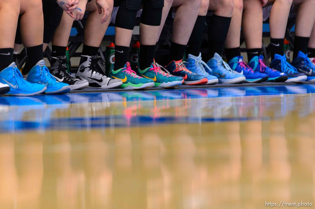 Trent Nelson | The Salt Lake Tribune Blue shoes line the Sky View bench as Sky View faces Springville in the 4A state high school girls basketball tournament at Salt Lake Community College in Taylorsville, Tuesday February 17, 2015. Mountain View wins 54-49.
