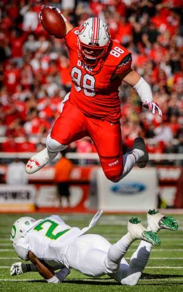Trent Nelson | The Salt Lake Tribune Utah Utes tight end Harrison Handley (88) leaps over Oregon Ducks defensive back Tyree Robinson (2) as Utah hosts Oregon, NCAA football at Rice-Eccles Stadium in Salt Lake City, Saturday November 19, 2016.
