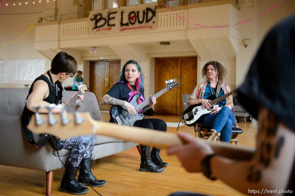 Brew Lira teaches the bass at Rock Camp for Womyn. People attending the camp learn how to play instruments, form bands, write songs, and perform live in concert — all in three days. It's a new program by the same group that does Rock and Roll Camp for Girls. Salt Lake City, Friday February 2, 2018.