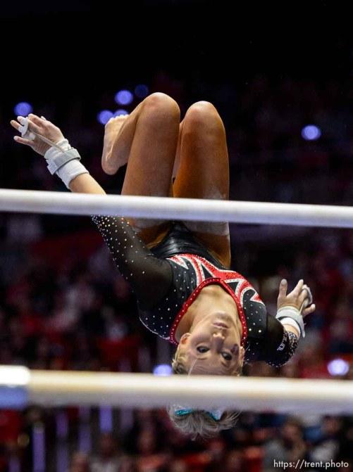 (Trent Nelson   The Salt Lake Tribune) MyKayla Skinner on bars as Utah hosts Washington, NCAA gymnastics in Salt Lake City, Saturday February 3, 2018.