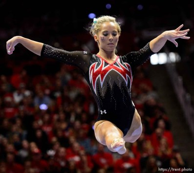 (Trent Nelson | The Salt Lake Tribune) MyKayla Skinner on beam as Utah hosts Washington, NCAA gymnastics in Salt Lake City, Saturday February 3, 2018.