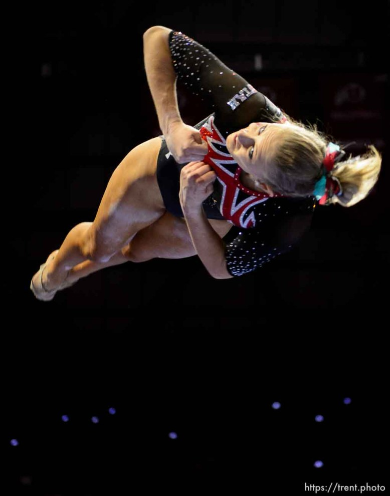 (Trent Nelson | The Salt Lake Tribune) MaKenna Merrell-Giles on beam as Utah hosts Washington, NCAA gymnastics in Salt Lake City, Saturday February 3, 2018.