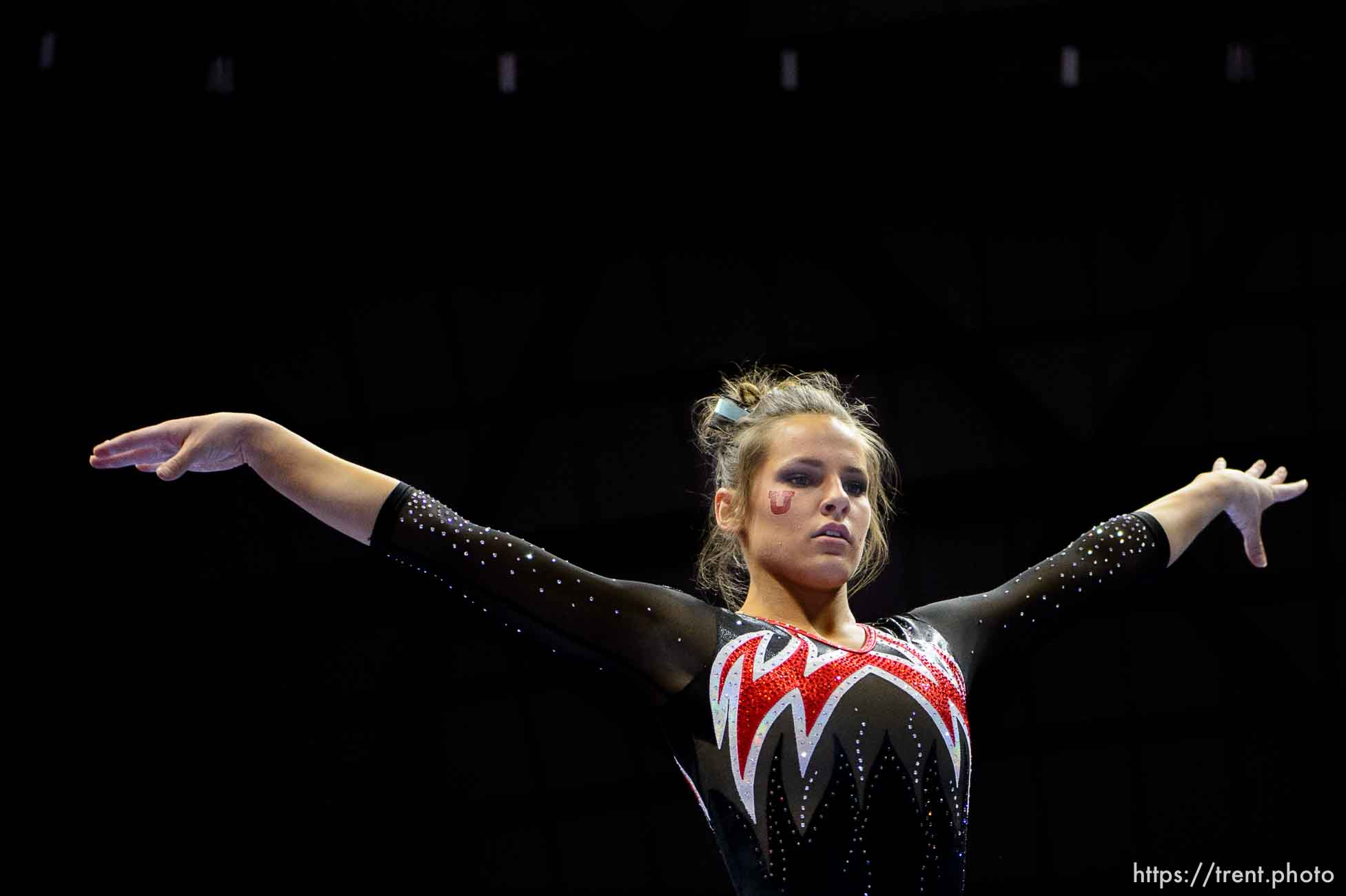 (Trent Nelson | The Salt Lake Tribune) Missy Reinstadtler on beam as Utah hosts Washington, NCAA gymnastics in Salt Lake City, Saturday February 3, 2018.