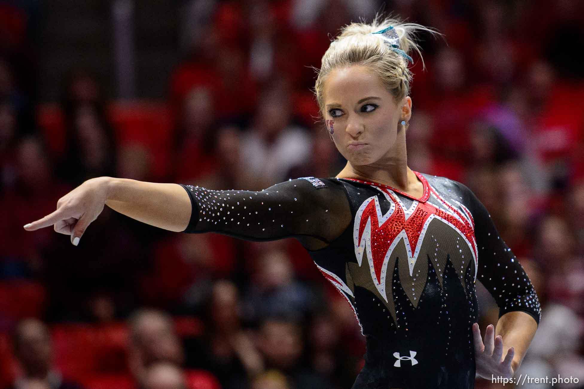 (Trent Nelson | The Salt Lake Tribune) MyKayla Skinner on floor as Utah hosts Washington, NCAA gymnastics in Salt Lake City, Saturday February 3, 2018.