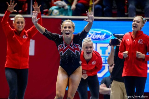 (Trent Nelson | The Salt Lake Tribune) MyKayla Skinner celebrates her floor routine as Utah hosts Washington, NCAA gymnastics in Salt Lake City, Saturday February 3, 2018.