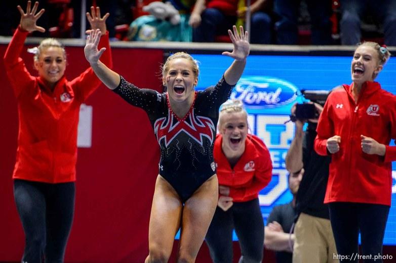 (Trent Nelson | The Salt Lake Tribune) MyKayla Skinner celebrates her floor routine as Utah hosts Washington, NCAA gymnastics in Salt Lake City, Saturday February 3, 2018.