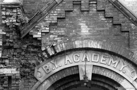 The crumbling facade of Provo's Academy Square. This particular building, the Education Building, was built in 1891.