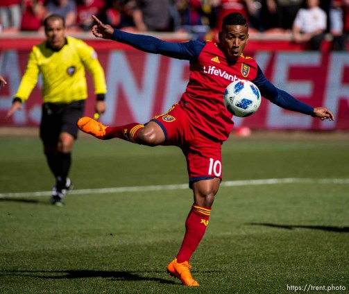 Real Salt Lake forward Joao Plata (10) scores in the first half.