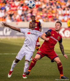 Los Angeles FC forward Latif Blessing (7) and Real Salt Lake midfielder Albert Rusnak (11).