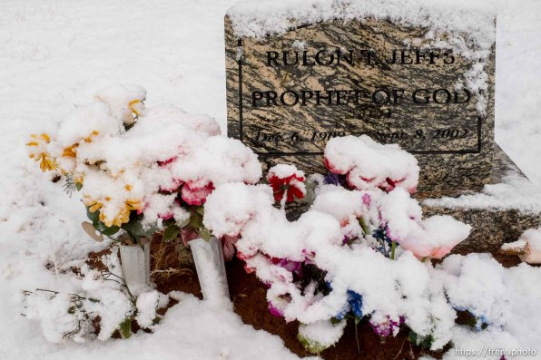rulon jeffs grave site with snow-covered flowers, cemetery, Thursday March 15, 2018.