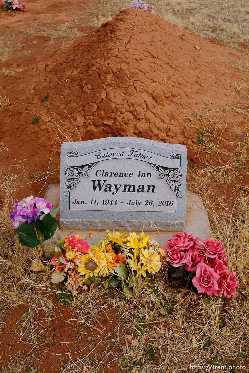 Clarence Ian Wayman, 1944-2016. Isaac W. Carling Memorial Park, Colorado City, Friday March 16, 2018.